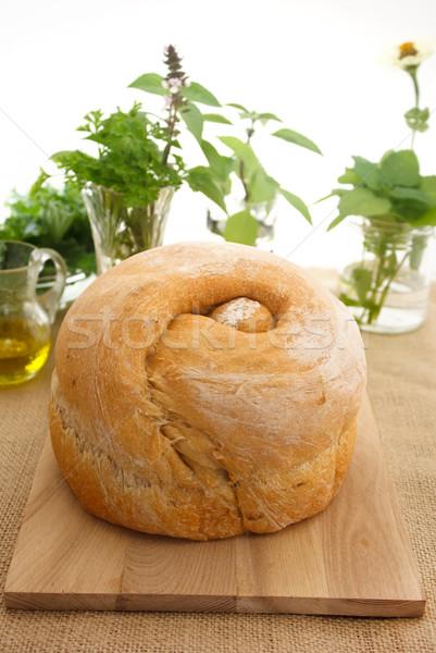 Pão pão coleção ervas comida madeira Foto stock © Melpomene