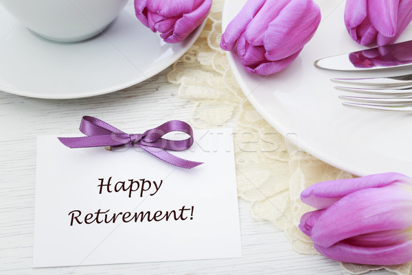Happy Retirement message with table setting Stock photo © Melpomene