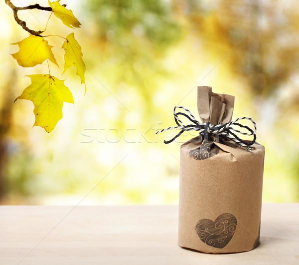 Present over yellow forest Stock photo © Melpomene