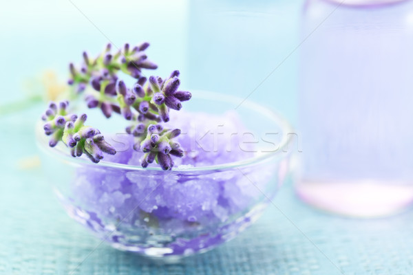 Lavender salt with aromatherapy oil Stock photo © Melpomene