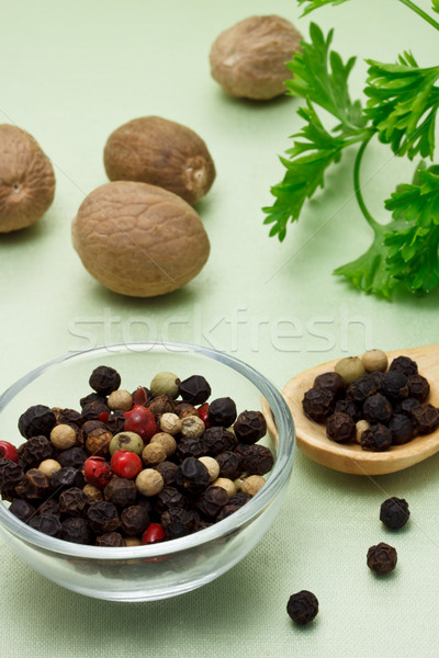 Colorful peppercorn with nutmegs Stock photo © Melpomene