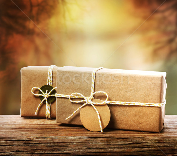Handcrafted gift boxes with an autumn background Stock photo © Melpomene