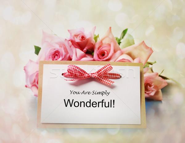 Simplesmente maravilhoso mensagem rosas rosa flores Foto stock © Melpomene