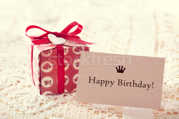 Happy birthday message with hand crafted present box Stock photo © Melpomene