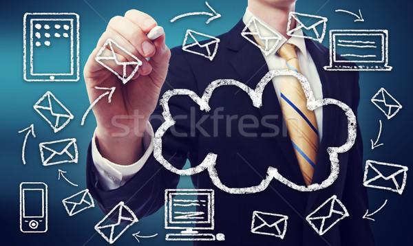 Stock fotó: üzletember · felhő · alapú · technológia · konnektivitás · internet · toll · technológia