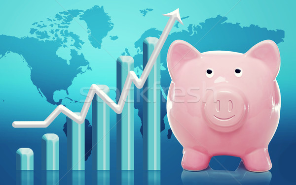 Spaarvarken staafdiagram glimlachend pijl gelukkig Stockfoto © Melpomene