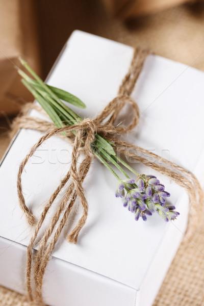 Homemade Giftbox with Lavender Sprig Stock photo © Melpomene