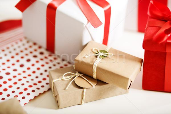 Gift boxes on table Stock photo © Melpomene