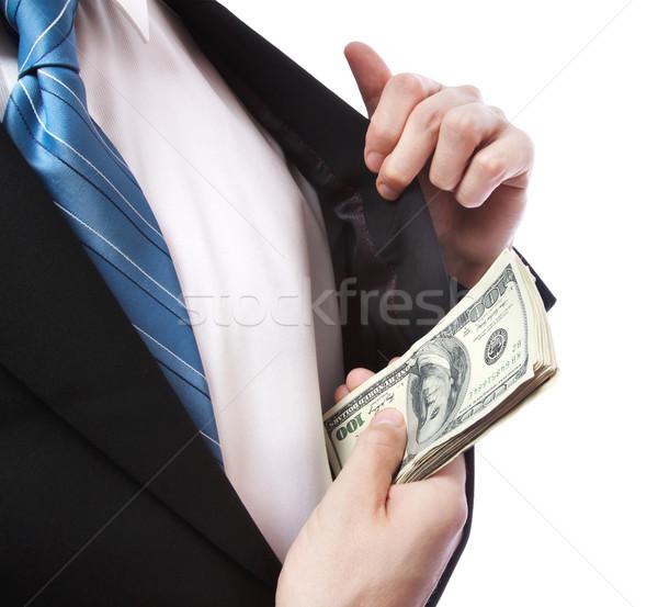 Zakenman cash jas zak pak witte Stockfoto © Melpomene