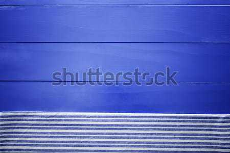 Blue Wooden Boards with Napkin Stock photo © Melpomene