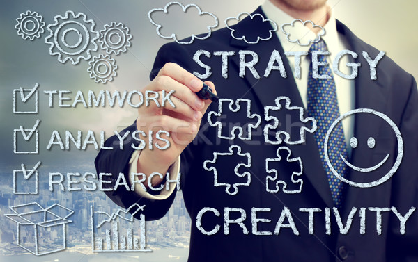 Businessman with concetps of creativity and strategy  Stock photo © Melpomene
