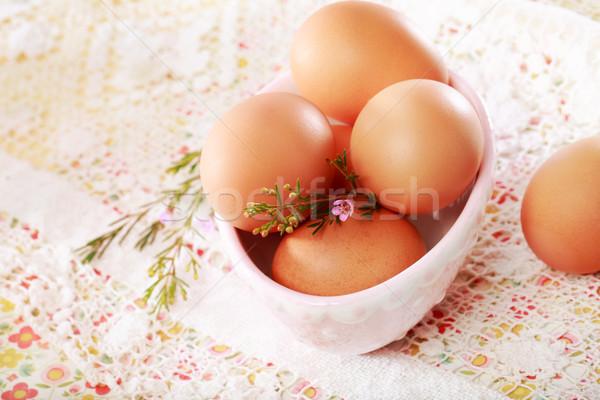 Bruin eieren porselein kom kant bloem Stockfoto © Melpomene