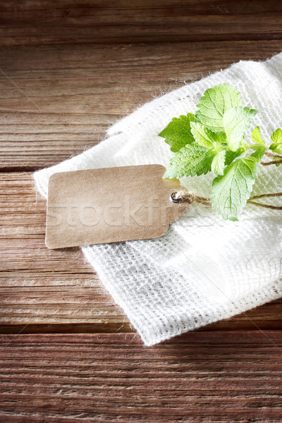 Tag rustique table en bois toile de jute feuille fond Photo stock © Melpomene