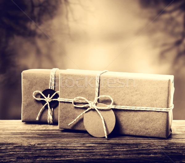Handmade gift boxes in sepia tone Stock photo © Melpomene