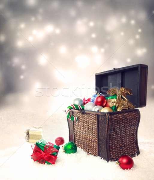 Stock photo: Treasure box filled with Christmas ornaments and presents