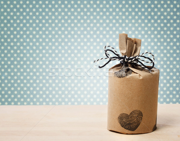 Present wrapped in a rustic earthy style Stock photo © Melpomene