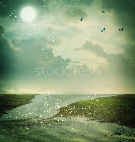Butterflies and moon in fantasy landscape Stock photo © Melpomene