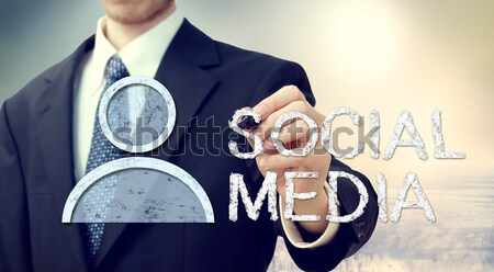 Businessman with smiling faces - yes or no Stock photo © Melpomene