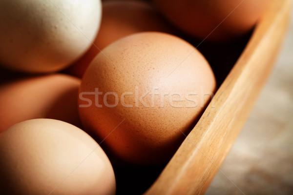 коричневый яйца чаши деревянный стол продовольствие Сток-фото © Melpomene