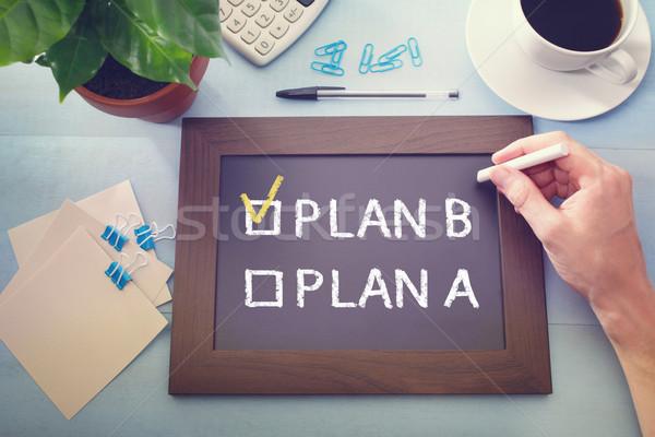 Adam plan b tahta iş el öğrenci Stok fotoğraf © Melpomene
