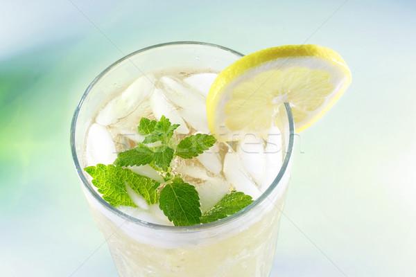 Limonade fraîches tranche citron baume menthe Photo stock © Melpomene