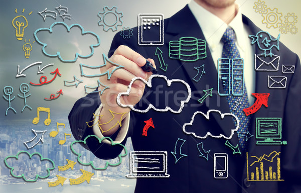 Stock fotó: üzletember · felhő · alapú · technológia · képek · kéz · írott · üzlet