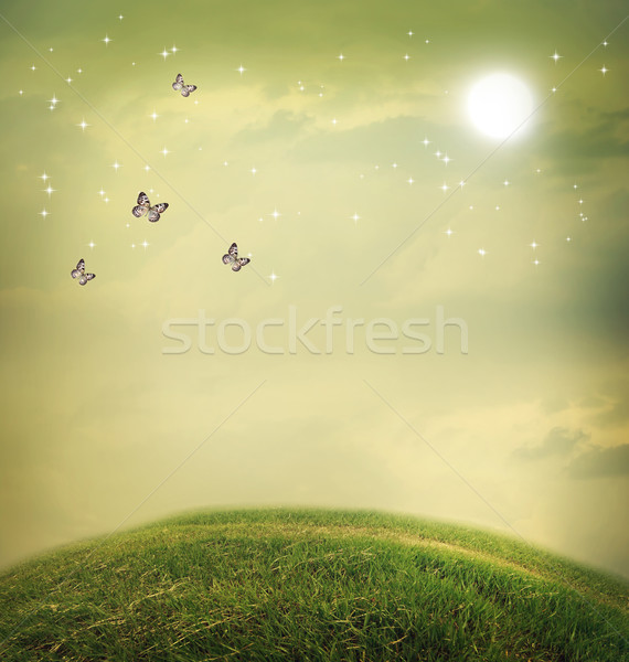 Stock photo: Butterflies in a fantasy landscape