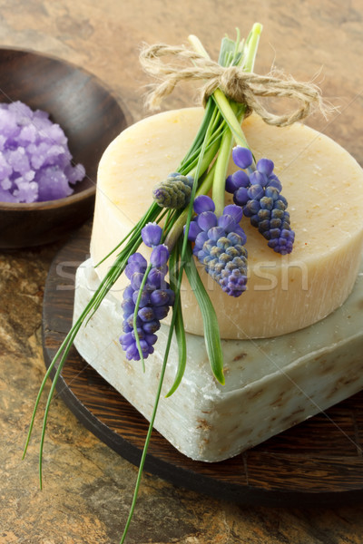 Handmade soap and grape hyacinth Stock photo © Melpomene