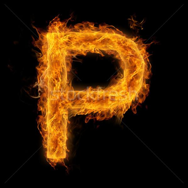 Flaming Letter P Stock photo © Melpomene