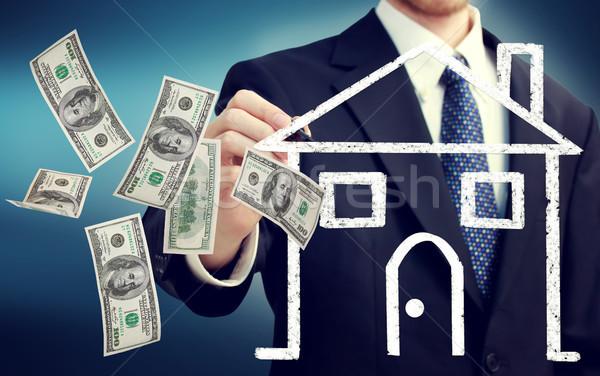 Vásárol elad ház üzletember rajz illusztráció Stock fotó © Melpomene