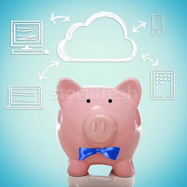 Felhő alapú technológia persely számítógép felhők laptop pénzügy Stock fotó © Melpomene