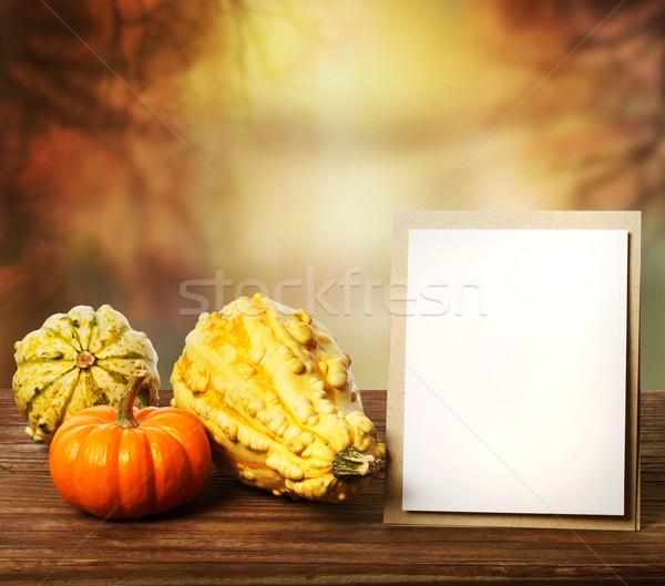 Stock fotó: üdvözlőlap · ősz · szezonális · papír · fák · keret