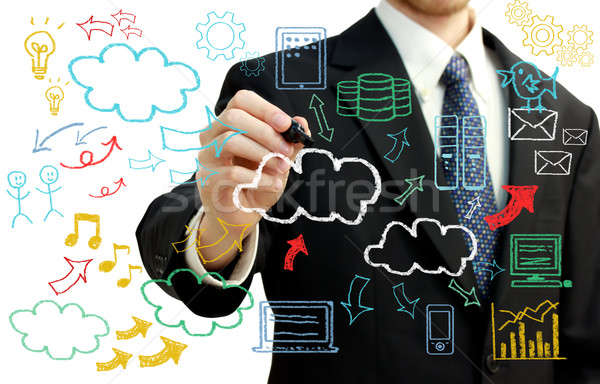 Businessman with cloud computing themed pictures Stock photo © Melpomene