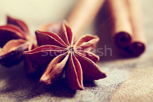 Star anason tarçın rustik ahşap masa doku Stok fotoğraf © Melpomene