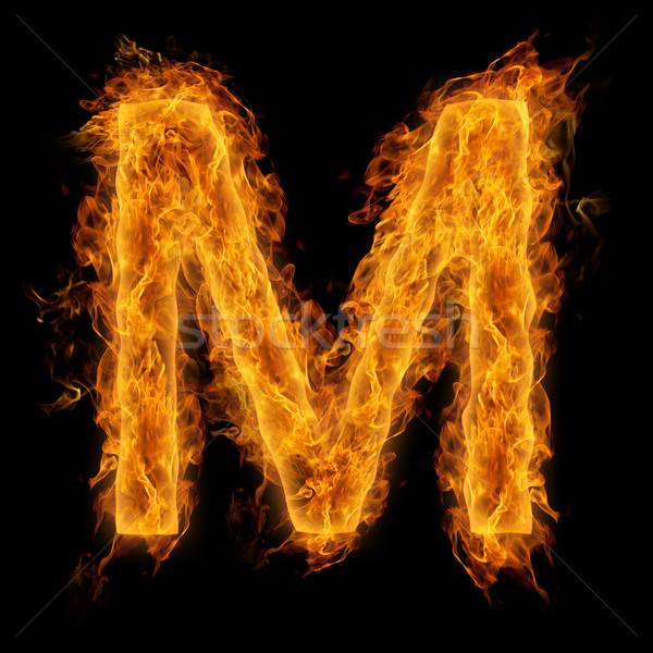 Yanan mektup m ateşli yangın arka plan kırmızı Stok fotoğraf © Melpomene
