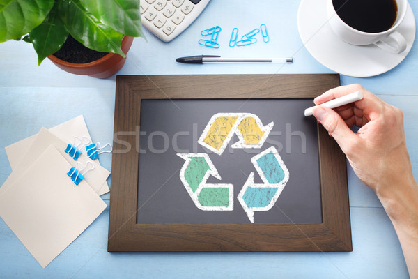 Reciclar signo negro pizarra pequeño negocios Foto stock © Melpomene