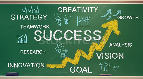 Success texts and cartoon on chalk board Stock photo © Melpomene