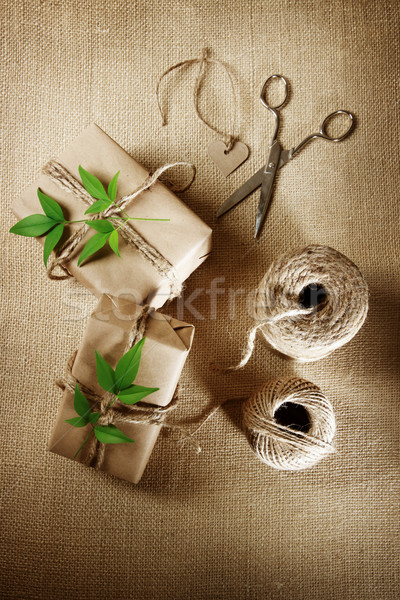Hemp cord spool with gift boxes Stock photo © Melpomene