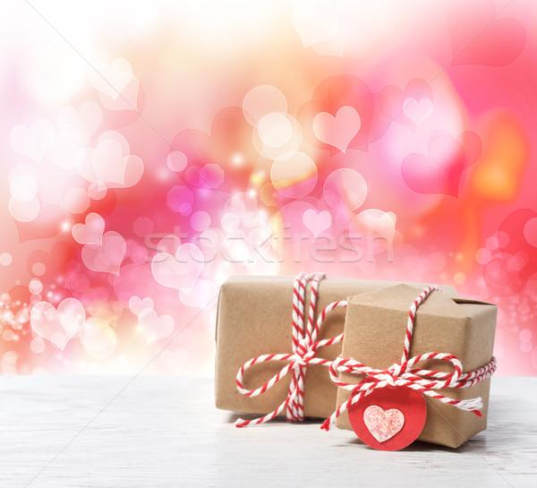 Klein handgemaakt roze harten liefde Stockfoto © Melpomene