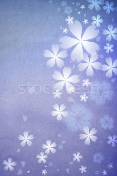 Blauw gekleurd weefsel patroon bloem Stockfoto © Melpomene