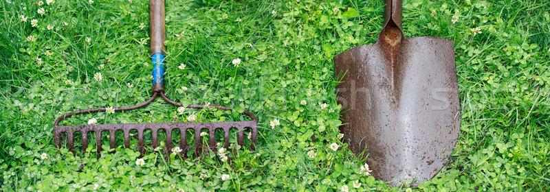 Metaal hark schop tuin top gazon Stockfoto © Melpomene