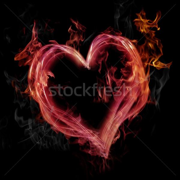 Foto d'archivio: Rosa · fiammeggiante · cuore · nero · fuoco · amore