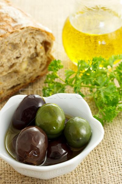 Stock fotó: Vegyes · olajbogyók · kenyér · olívaolaj · petrezselyem · étel