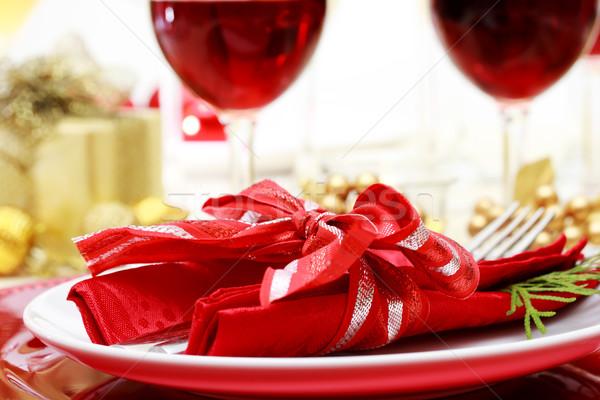 Dekore edilmiş Noel yemek masası şarap ev kutu Stok fotoğraf © Melpomene