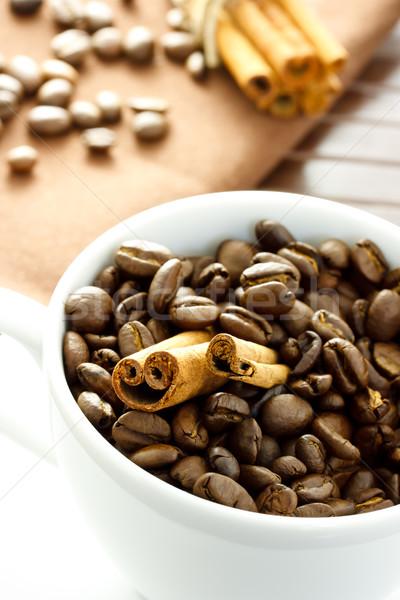 コーヒー豆 シナモン 自然 暗い 朝食 カップ ストックフォト © Melpomene