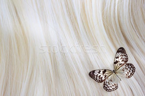 Blonde Hair with butterfly Stock photo © Melpomene