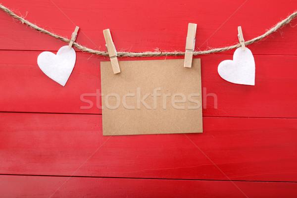 ストックフォト: メッセージ · カード · 心 · 赤 · 木板 · 木材