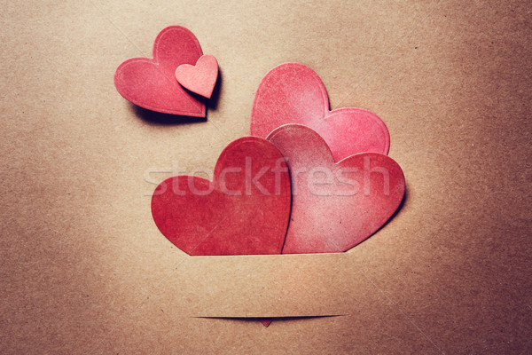 Paper cut red hearts Stock photo © Melpomene