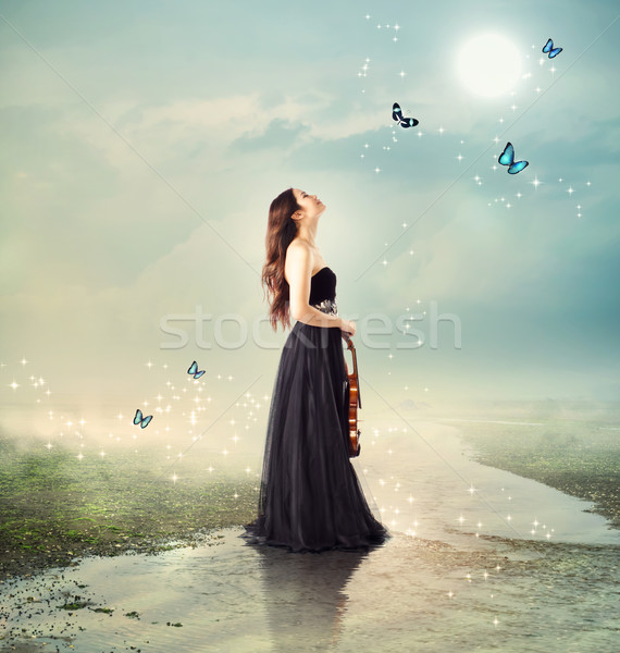 Violinist at a brook under the moon light Stock photo © Melpomene