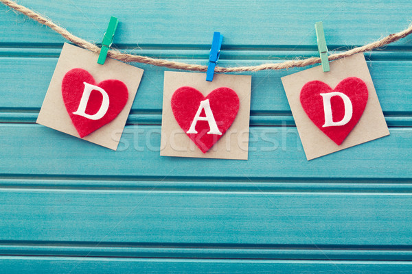 Fathers day message on felt hearts Stock photo © Melpomene